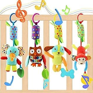 Evance Baby Spielzeug 4 Packs Kinderwagen Spielzeug Kinderbett Anhänge Cartoon Tier hängen Rassel Kleinkind Spielzeug weiche Flock Stoff mit Klingel Glocke 4 Stück