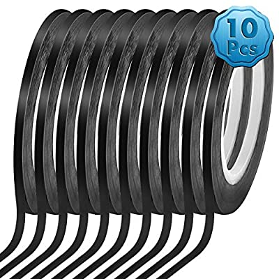 Cridoz 10 Rolls 1/8 Pinstripe Tape Dry Erase Board Tape Whiteboard Thin Tape Lines Pinstriping Graphic Chart Line Grid Marking Tape, 108 Feet Per Roll