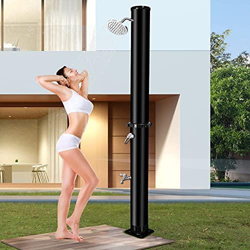 Qdreclod 35L Ducha Jardin Exterior, Ducha Solar Piscina con Regulador de Agua Caliente y Fría, Portatil Ducha Solar Camping con Ducha, Lavapiés, Base, Conexiones de Mangueras de Jardín