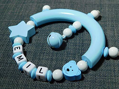 Greifling mit Namen für Jungs und Mädchen- Babyrassel mit namen- Babyspielzeug ab 3 Monate- Geburtsgeschenk