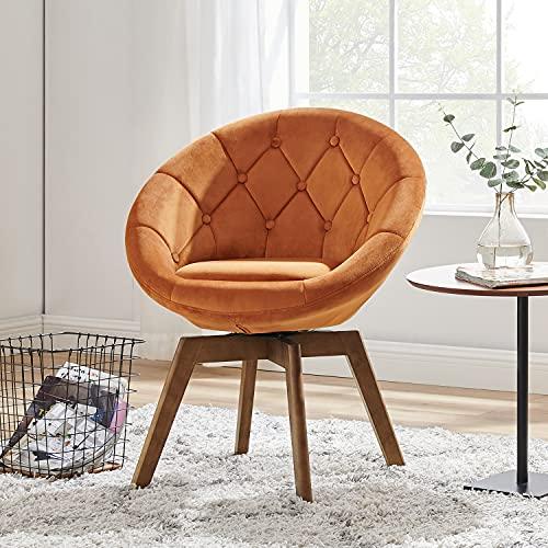 Volans Mid Century Modern Velvet Tufted Round Back Upholstered Swivel Accent Chair Orange with Wood Legs for Living Room Bedroom Vanity Desk