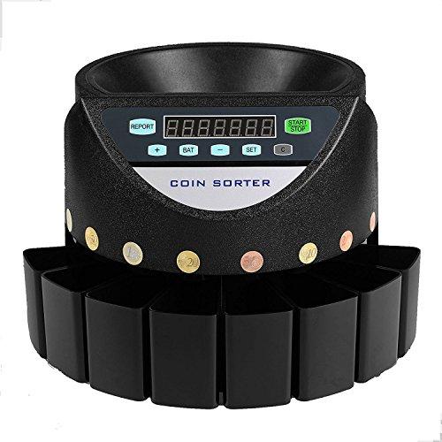 HuSuper Münzsortierer Euro Elektrische Geldzählmaschine Münzzählmaschine Münzzähler Coin Counter Sorter für Euro und Münzen (Schwarz)