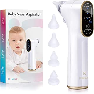 Baby Nasal Aspirator Electric, HailiCare Nose Cleaner Baby Nose Sucker and Snot Sucker Nose Suction for Newborns and Toddlers with 4 Silicone Tips and 3 Suction Levels