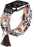 CAGOS Bracelet Beadeds Compatible with Apple Watch Band 38mm/40mm Series SE/6/5/4/3/2/1 Cute Handmade Fashion Elastic Stretch Beaded Strap Replacement with Stainless Steel Adapter for iWatch Brown