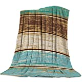 Vandarllin Retro Rustic Wood Texture Super Soft Throw Blankets Teal Green Brown Fluffy Fuzzy Flannel Bed Blanket Decorative for Home Sofa Couch Chair Living Bedroom (50x60 Inch)