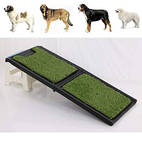 WXHJM Pet Car Ramp, Foldable Pet Ladder Household Dog Step Auxiliary Ladder Find The Best Fit for Your Pet, Fake Grass Surface (Water Washable)