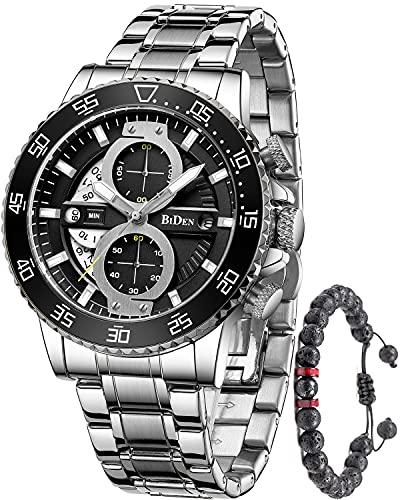 Herren Uhren Chronograph Analog Quarz Herrenuhr Wasserdicht Edelstahl Datum Business Armbanduhr Silber Schwarz