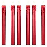 Lights4fun Lot de 6 Bougies de Chandelier LED à Piles en Cire Rouge