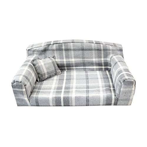 Dove Grey Royal - Pet Sofa. 3 sizes Dog bed cover material. Made in UK (Large 96 x 64 x 34 cm)