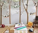 Papel Pintado No Tejido 3D Papel Tapiz De Murales De Dibujos Animados 3D Grandes Y Lindos Panda Trees Para Baby Child Room @ 300 * 210