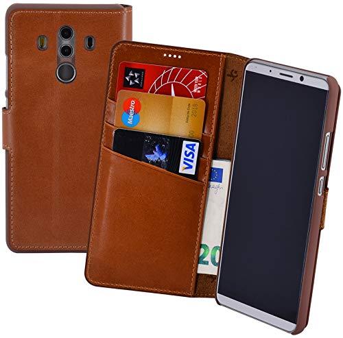 Suncase Book-Style (Slim-Fit) für Huawei Mate 10 PRO Ledertasche Leder Tasche Handytasche Schutzhülle Hülle Hülle (mit Standfunktion & Kartenfach) Cognac