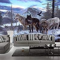 3D壁壁画壁紙リビングルーム寝室ソファテレビ背景壁紙ウルフトーテム動物写真壁紙 450cmx300cm