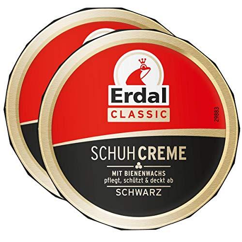 2x Erdal Classic Schuhcreme Schwarz - Dosencreme, pflegt, glänzt & schützt, 75 ml