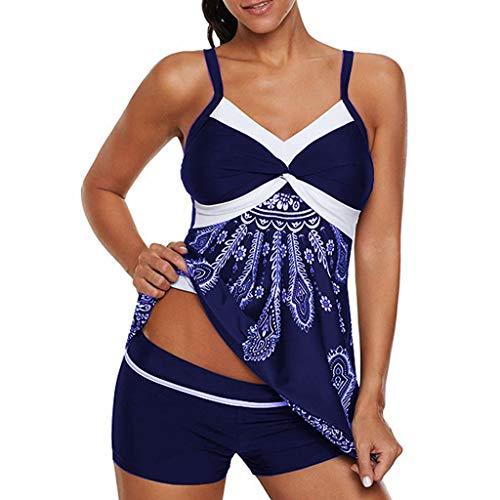 Overdose Übergrößen Damen Tankini Bandeau Push up Gepolstert Badeanzug Bikini-Sets Mit Slip Vintage Blumendruck Badekleid Zweiteilige Beachwear Freizeit Bademode