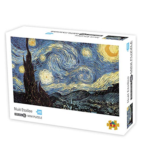 1000 Pieces Jigsaw Puzzles Adults The Smallest Size Starry Night Puzzles Difficult Famous Painting Thicker Paper Puzzle for Adult(Size 42.5X 30cm)