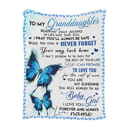 """Personalized Throw Blanket with Name & Message to My Granddaughter from Grandma or Grandpa, You are My Sunshine, Customized Blanket with Your Own Text & Names - Unique Gifts 50""""x60"""""""