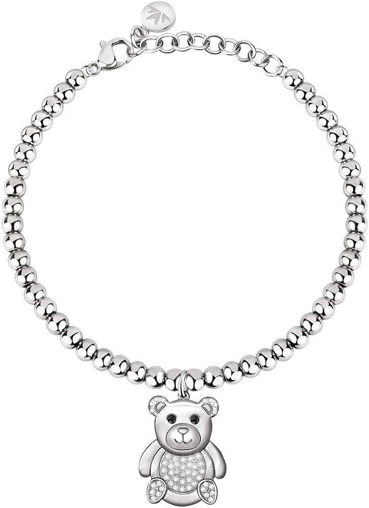 Morellato, bracciale da donna, collezione love, in acciaio e cristalli S0R28
