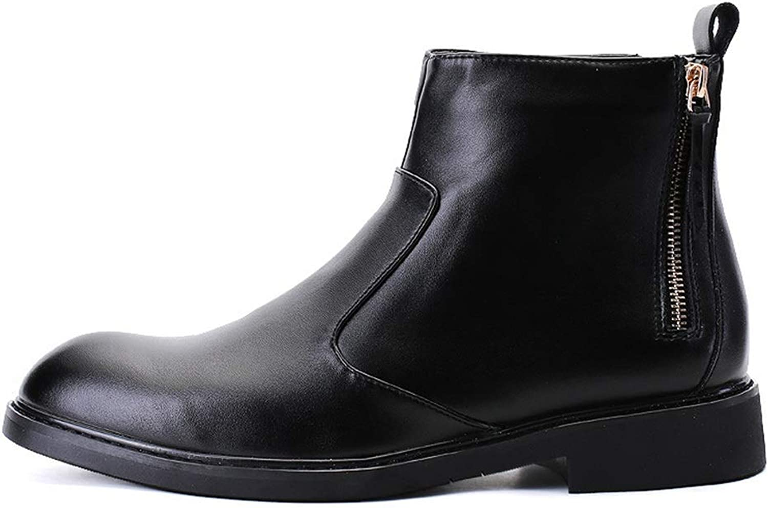 Men'S Boots, Leather Fall Winter 2019 In The British Zipper Pointed Booties Korean Hair Stylist Trend Casual Boots Trend High-Top Desert Boot Comfortable Running Boot Walking Boot Hiking Boot Wild XUE