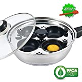 Eggssentials Poached Egg Maker - Nonstick 4 Egg Poaching Cups - Stainless Steel Egg Poacher Pan FDA...