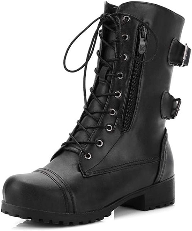 BeautyOriginal Women's Low Block Heel Ankle Boot - Casual Lace up Bootie Walking shoes