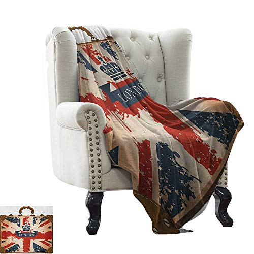 Fluffy Blanket Union Jack,Vintage Travel Suitcase with British Flag London Ribbon and Crown Image,Dark Blue Red Brown Weighted for Adults Kids, Better Deeper Sleep 60'x62'