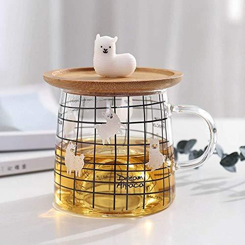 ShenMiDeTieChui Taza de Cristal de la Alpaca 3D Dulce con la Tapa de bambú, Tazas de Cristal Resistente al Calor para la Taza de la mañana, Leche, café, té, Desayuno, Taza para Regalos (Color : A)