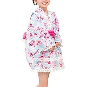 [アリサナ]arisana 浴衣 こども 女の子 浴衣ドレス 子供 110 120 セパレート浴衣と兵児帯2枚 セット リボン×バラ(ブルー) 120cm