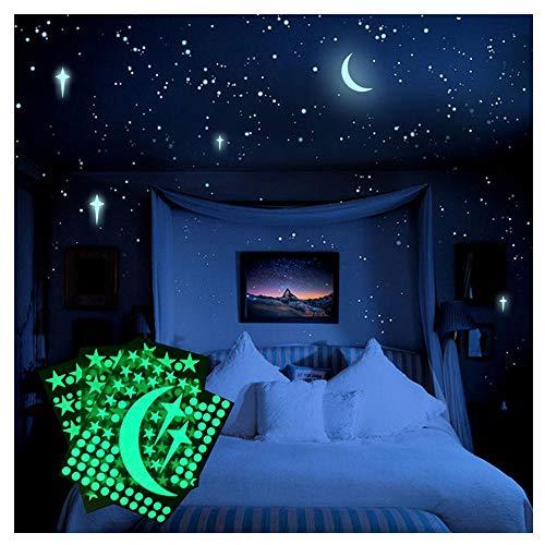 Leuchtsterne Selbstklebend Wandtattoo Aufkleber Leucht Wand Aufkleber für Kinderzimmer Sternenhimmel als Dunkeln Fluoreszierte Zimmerdeko (B)