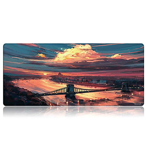Bimormat Anime Gaming Mouse Pad,XXL Large Extended Desk Pad (35.4x15.7 inches),High-Performance Mousepad Optimized for Gamer (90x40 D18bridge)