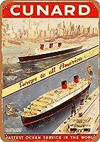 Cunard Passenger Liner 注意看板メタル安全標識注意マー表示パネル金属板のブリキ看板情報サイン