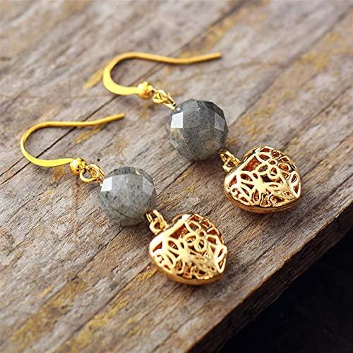 TYUTYU Pendientes Mujeres Natural Stones Heart Drop Jewelry Gemstones Dangle Pendiente DISAGADOR JOYERÍA (Metal Color : Grey Labradorite)