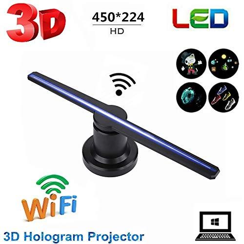 3D-hologramprojector, draagbare ventilator Draagbare LED-holografische ventilator HD visuele reclamedisplay voor tentoonstelling, winkel, bar, ondersteund voor Windows XP / Windows 7/8/10. (EU)