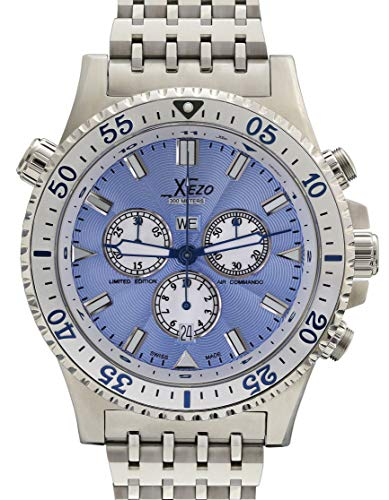 Xezo Air Commando Herren-Armbanduhr, Schweizer Quartz Piloten Taucher Chronograph Uhr D45-SB