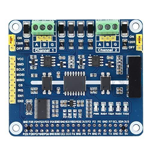 Yctze RS485 LED-Erweiterungshut SC16IS752 + SP3485 Dual-Chip-Erweiterungskarte 2-Kanal-Antielektrostatik-Erweiterungskarte für Raspberry Pi 3B 4B