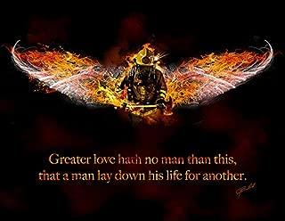 No Greater Love (Fireman) by Jason Bullard Novelty Inspirational Firefighter Print Poster 18x14