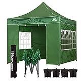 Mondeer Pavillon,3x3 m, wasserdichte PU-Beschichtung,Hochleistungsstahlrahmen, mit 4 Sandsäcken, Seitewände und Tragetasche, geeignet für Hochzeiten im Freien, Gartenpartys (grün)