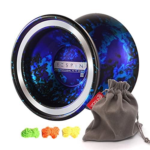 VOSUN Aluminum Metal yoyo O1 EZSPiN, Unresponsive String Trick yoyo, Professional yoyo Ball, Good polishing yoyo, 1A pro yoyo Ball, Gift with 1 yoyo Bag & 3 Strings (Splashed)