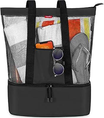 Aruba Mesh Beach Tote Bag with Insulated Picnic Cooler (Black)