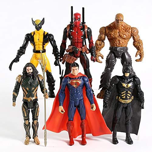 hclshops Statua Giocattolo Superman Wolverine Deadpool Aquaman Thing PVC Action Figure Toys 6pcs / Set