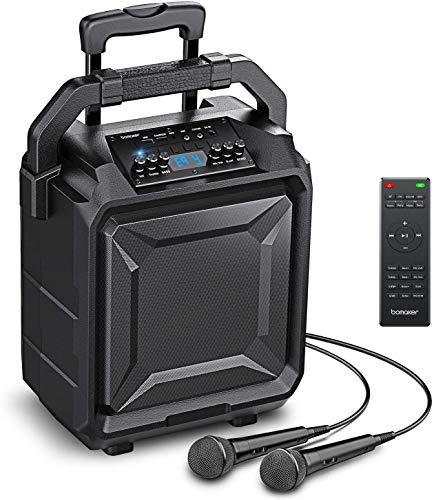 """Bomaker 500W Sistema de Megafonía y Anuncio con Micrófono, Equipos de karaoke, Woofer de 8\"""", 6 EQ Modos, Bluetooth 5.0/ FM Radio/AUX/guitarra/USB/Guitarra, PA Lark 01"""