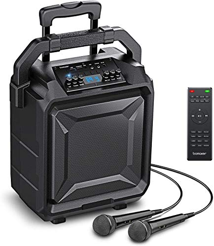 Bomaker Karaoke Anlage 500 Watt Tragbar PA Anlage DJ Party Lautsprecher mit Akku, unterstützt Bluetooth, Gitarre, AUX, USB & FM.