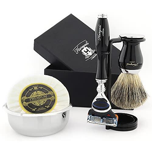 Haryali London Herren-Rasierset mit Rasiermesser mit 5 Schneiden, Rasierpinsel, Rasierständer, Rasierseife und Rasierschale