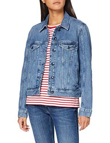 Tommy Hilfiger Damen Jacket Milo Jacke, Blau (Denim 1AA), One Size (Herstellergröße: 36)