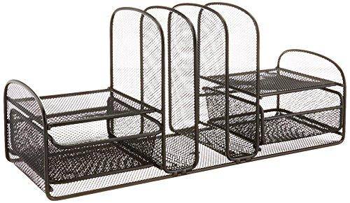 Safco Products Organizador de mesa Onyx Mesh 3 Sorter/2 Gavetas 3263BL, acabamento em pó preto, estrutura de malha de aço durável