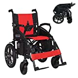 2021 Model Fold & Travel Lightweight Electric Wheelchair Motor Motorized Wheelchairs Power Wheel Chair Aviation Travel Safe Heavy Duty (Red - Black)