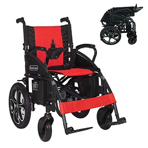 2021 Model Fold & Travel Lightweight Electric Wheelchair Motor Motorized Wheelchairs Power Wheel Chair Aviation Travel Safe Heavy Duty (Red - Black)