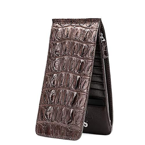 EEKUY Krokodilleder-Brieftasche für Herren, ultradünne Lange Brieftasche für 20 Karten in bar 7,7 x 3,7 x 0,63 Zoll,Brown,B