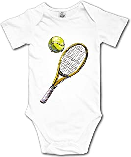 Kyliel 100% Cotton Baby Funny Romper Bodysuit Infant Toddler Tennis Racket Ball