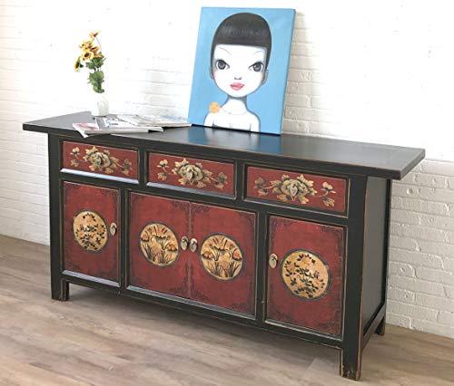 Aparador comoda cajonera chifonier armario gabinete guardarropa chino oriental antiguo vintage asiatico shabby negro-rojo