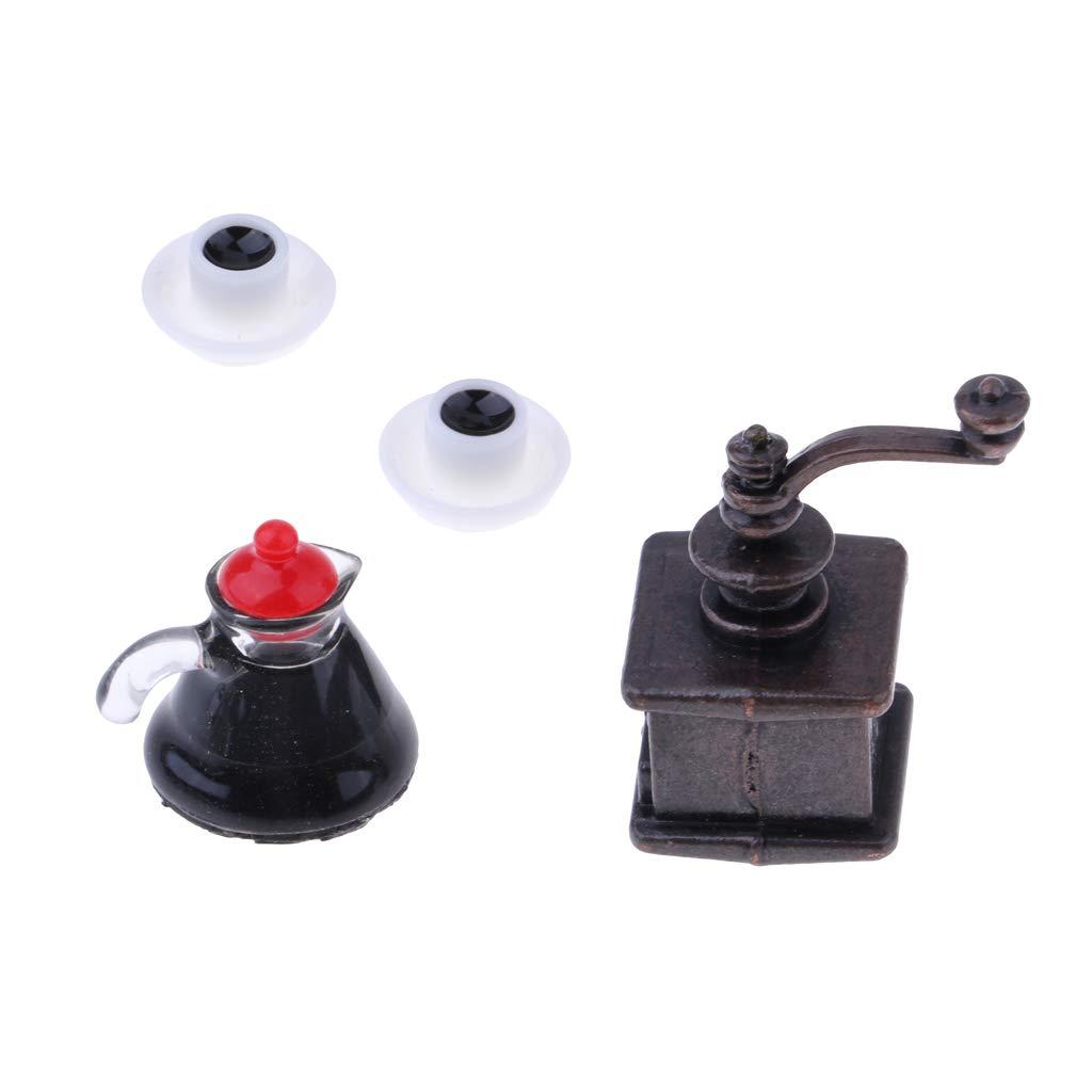 Amazon.es: Kit de Modelo Cafetera + Mini Botella de Café + 2 Piezas Tazas Miniatura para Muñecas Escala 1/12: Juguetes y juegos